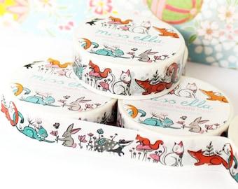 Washi Tape - woodland fox cat badger rabbit squirrel storybook craft tape low tack 15mm x 10m