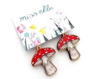 Mushroom Earrings - amanita muscaria fly agaric jewellery wooden earrings hoops statement jewellery red