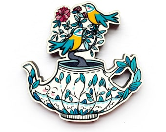 Teapot and Blue tit Brooch