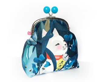Lucky Cat and Moon Jumbo Bobble Purse - big purse bag cats cat lover