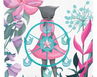 Ferris Wheel Frida Illustration Print