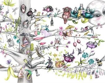 Drawlloween Halloween Illustration Art Print -  art decor home wall art nursery A4 / A3 /  8 x 10 / A5 - print tree