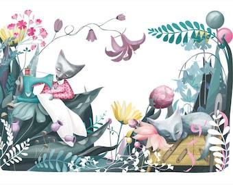 Sewing Cats Illustration Print