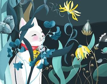 Lucky Cat Illustration Print