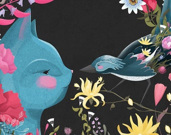 Cat and Bird Illustration Print