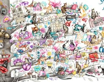 Cat Tree Illustration Print