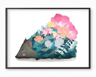 Hedgehog Illustration Print