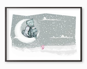 Owl and the Pussycat Illustration Print