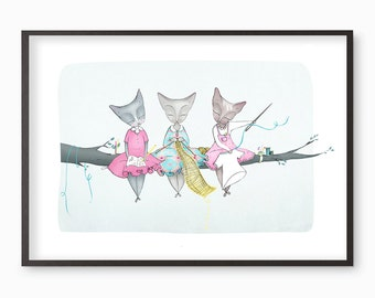 """Cat ladies illustration - """"Draw no evil, knit no evil, sew no evil"""" giclee art print - Many sizes available A3 / A4 / A5 / 8 x 10"""