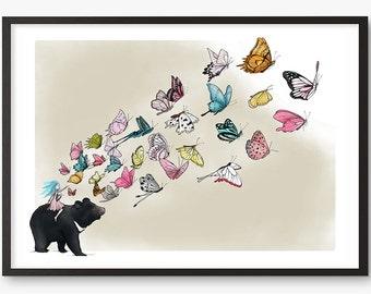 Moon Bear Butterflies Illustration Print