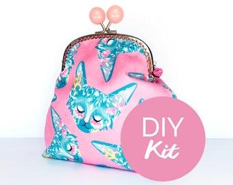 DIY Floral Cat JUMBO Purse sewing KIT
