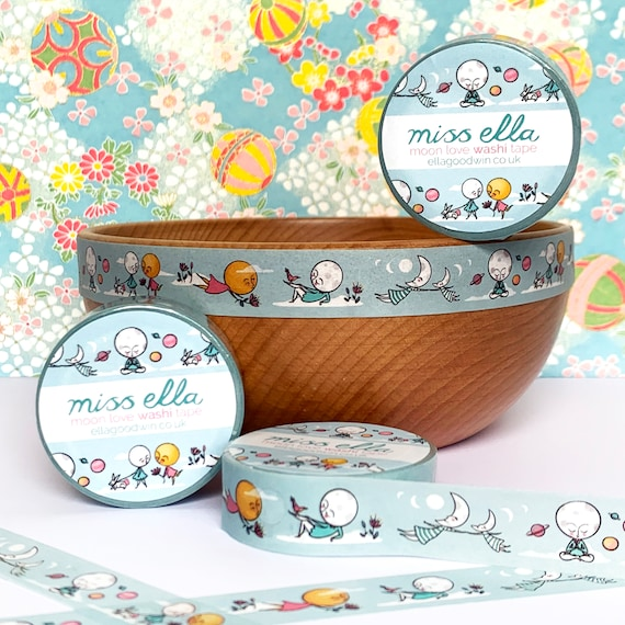 Washi Tape woodland creatures set of three big cats and moon sun adventures craft tape low tack fox lucky cat badger 15mm x 10m