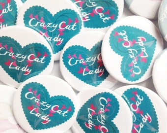 Crazy Cat Lady Badge Pin -  Cat Badges - pin kitsch kitten crazycatlady cat lovers gift stocking stuffer button badge