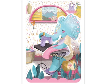 Elephant seamstress Card