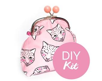 DIY KIT - Pink Leopard Jumbo Bobble Purse