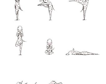Yoga Dogs Illustration Print