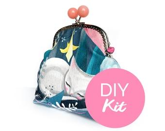 DIY KIT - cat bobble purse - sewing kit purse