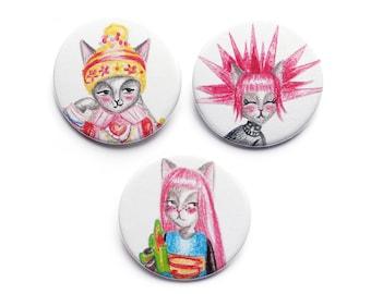 Cat Badges Pins fridge magnets - Harajuku girls cats kawaii badge pin cat lady punk japan japanese - set of 3 stocking filler stuffer