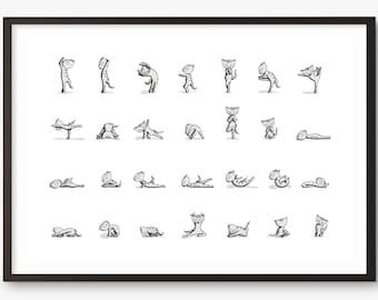 Cat art print - yoga instruction diagram exercise - A3 - large