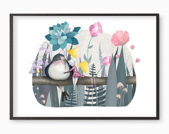 Thumbelina the Cat and the Swallow Illustration Print