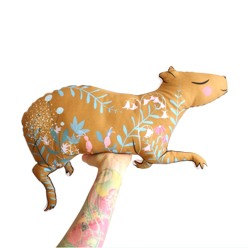 Capybara cushion softie plush floral  throw pillow  guinea image 0