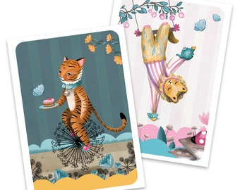 Tiger and Lion Greetings cards - set of two circus illustrated cards - blank no message