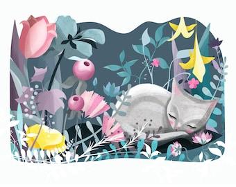 Sleeping Cat Illustration Print