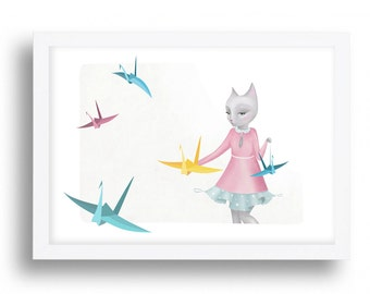 Origami Kitten Cat Illustration Print