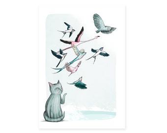 Cat Birds Card