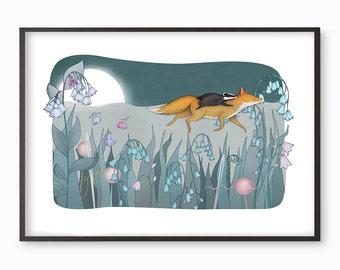 Fox Badger Illustration Print