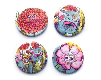 Day of The Dead in Wonderland Badges/Fridge Magnets