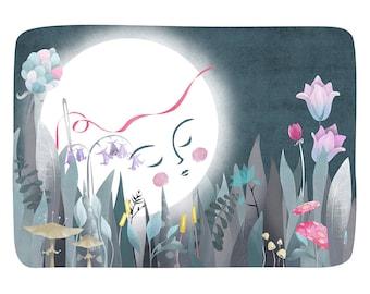 Moon Flowers Illustration Print