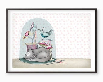 Cat birds Print - cats  - illustration bell jar - A4 / A3 / A5 / 8 x 10  Fine Art Giclee Print kawaii cute sewing Belljar kitten