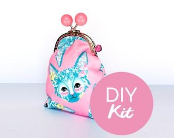 DIY KIT - Pink Floral Cat Purse