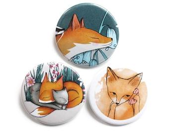 Fox Badges/Fridge Magnets