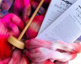 SPIN KIT - learn to spin in color spindle kit with handmade hardwood spindle - choose color - 3 oz super soft hand dyed merino wool roving