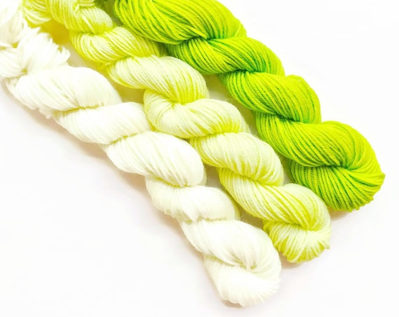 LIME fade set of hand dyed yarn mini skeins. Gradient ombre set 3 skeins.