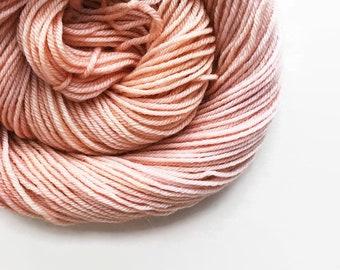 LOBSTER BISQUE hand dyed yarn fingering sock dk bulky yarn merino wool yarn single or ply. you choose your base. pale pink neutral yarn