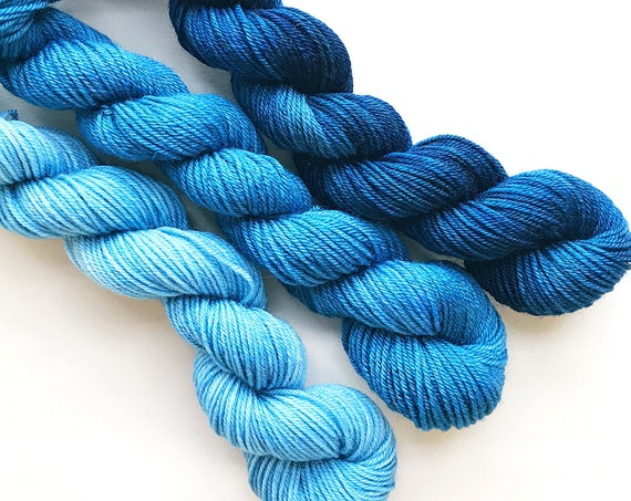 TWILIGHT fade set of hand dyed yarn mini skeins. Gradient ombre SET of 3 skeins