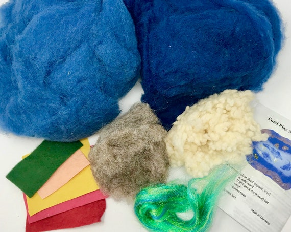 POND Play Mat Felting Kit - Made in Germany - Complete Instructions Included.  Waldorf Play Mat Kit. Imaginative Play Toy Kit for your Child