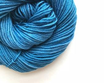 BLUE VELVET hand dyed yarn fingering sock dk bulky yarn super wash merino wool yarn single or ply. choose your base. medium dusty blue yarn