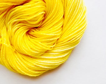 BUTTER hand dyed yarn fingering sock dk bulky yarn super wash merino wool yarn single or ply. choose your base. medium butter yellow yarn