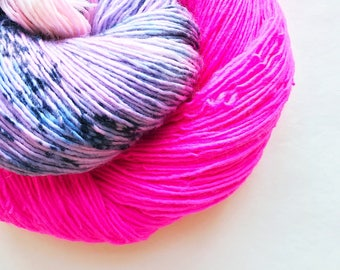 POWER PUFF hand dyed yarn. speckle and semi-solid. choose your base: fingering, sock, dk,  bulky yarn. pink and blues half & half yarn