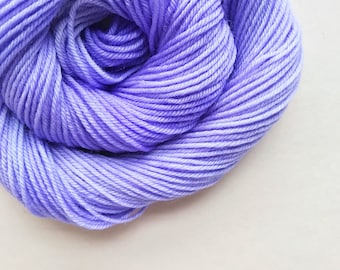 VIOLET ICING hand dyed yarn fingering sock dk bulky yarn super wash merino wool yarn single or ply. choose base. light violet purple yarn