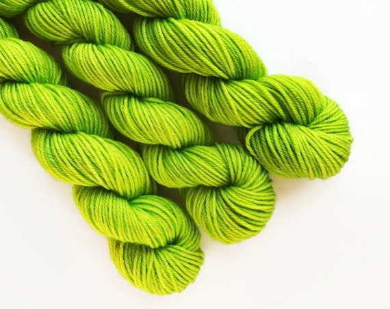 LIME hand dyed yarn mini skein