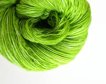 lime / hand dyed yarn / fingering sock dk bulky yarn / super wash merino wool yarn / single or ply / choose your base/chartreuse green apple