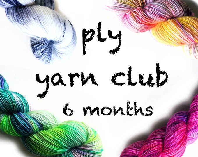 Featured listing image: Hand Dyed Yarn Club 6 month membership. Customizable monthly yarn club subscription. Gift for Knitters, Gift for Crafters. PLY Yarn Club!