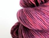 marsala : hand dyed yarn, silk alpaca superwash merino wool, dk weight yarn, light worsted weight, single-ply, rose wine red yarn