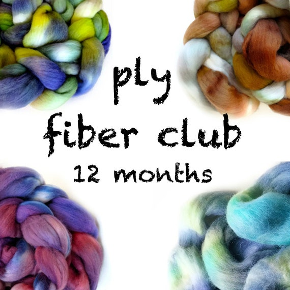 Hand Dyed Wool Roving Fiber Club 12 months. Customizable monthly subscription for Spinning or Felting. Gift for Spinners, Gift for Crafters.