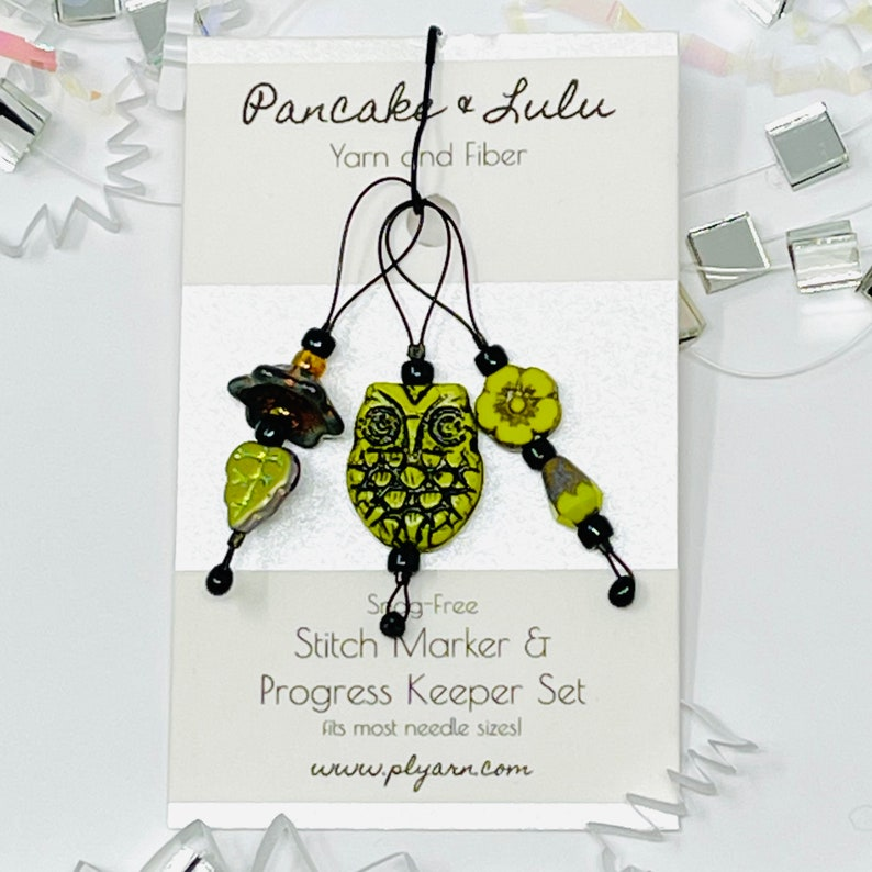 knitting crochet tool snag-free and light YELLOW OWL stitch marker progress keeper set jewelry for your knitting gift for knitters